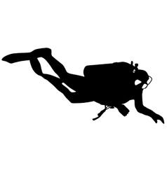 Black silhouette scuba divers vector