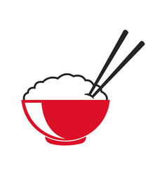 bowl of rice and chopsticks cooked dinner asian vector image vector image