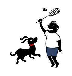 Boy Playing Badminton vector image vector image