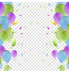 Bright balloons and confetti background vector