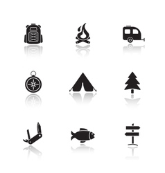 Campground equipment drop shadow icons set vector image