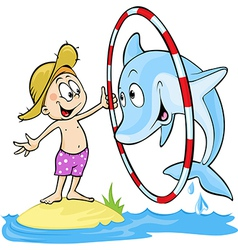 Child playing with dolphin - cute - dolphin vector
