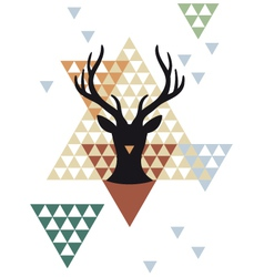 Christmas deer with triangle pattern vector