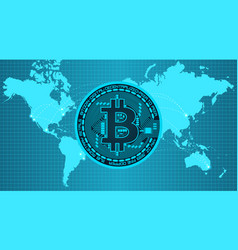 Crypto currency bitcoin in trendy blue colors vector