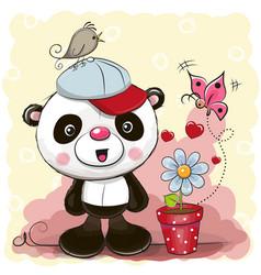 cute cartoon panda with flower vector image vector image