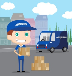 Express Man and his Truck vector image