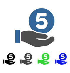 Five cents payment hand flat icon vector