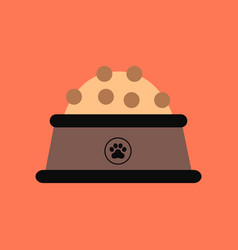 Flat icon on background dog food bowl vector
