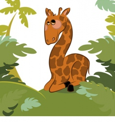 giraffe in the jungle vector image vector image