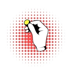 Hand putting a golden coin icon comics style vector