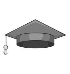 Hat student icon gray monochrome style vector