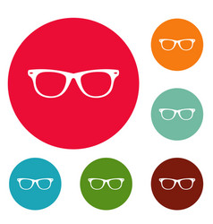 Man glasses icons circle set vector