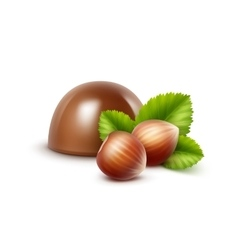 Milk chocolate candy with hazelnuts on background vector