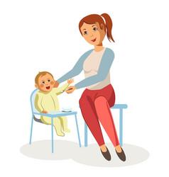 Mother feeding newborn baby child nursing vector