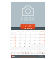 October 2018 wall monthly calendar planner for vector