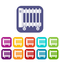 Oil electric heater on wheels icons set flat vector