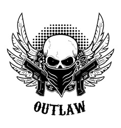 Outlaw t-shirt print design template Skull with vector image
