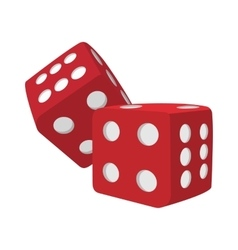 Red dice cartoon icon vector image vector image