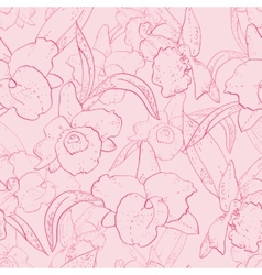 Seamless retro pattern with orchid vector image vector image
