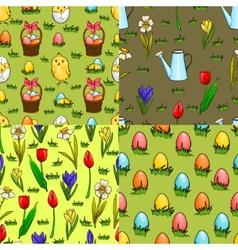 Set of four seamless patterns for Easter vector image vector image