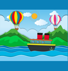 ship sailing in the sea and balloons flying in sky vector image