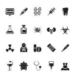 Silhouette healthcare and hospital icons vector