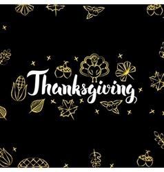 Thanksgiving Gold Black Postcard vector image vector image