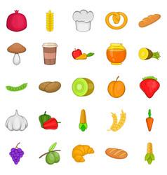 Vegan eatery icons set cartoon style vector