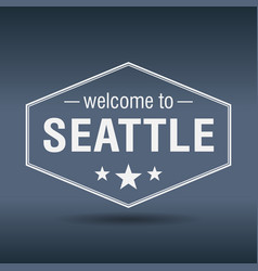 Welcome to seattle hexagonal white vintage label vector
