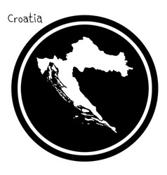 White map of croatia on black circle vector