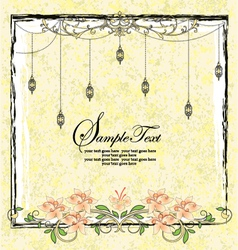 Vintage floral announcement card vector