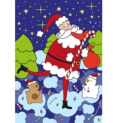 Funny santa claus licks big lollipop vector