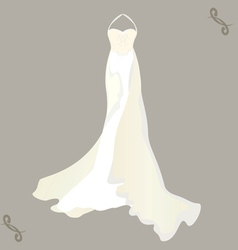 Wedding dress with a cape vector