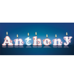 Anthony written with burning candles vector