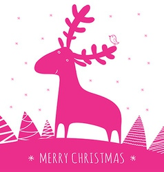 Greeting christmass card with deer vector