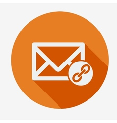 Mail icon envelope with chain flat design vector