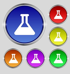Conical flask icon sign round symbol on bright vector