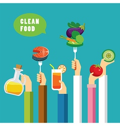 Clean food concept flat design vector
