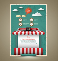 Hot promotion sale poster roof shop vintage style vector
