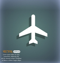 Plane icon on the blue-green abstract background vector