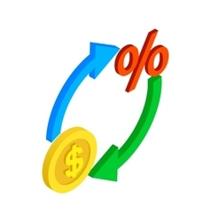 Circle arrows with dollar and percent symbol icon vector
