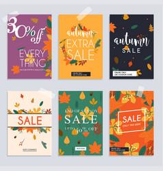 Autumn sale website banners web template vector