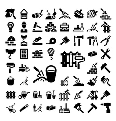 Big construction and repair icons set vector