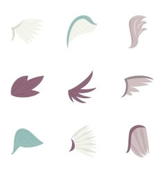 Bird wings icons set cartoon style vector