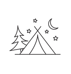 Camping tent icon outline vector image