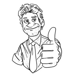 Cartoon image of man giving approval vector