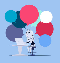 Chatbot or chatter app cute robot use laptop vector