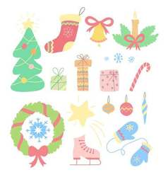 Christmas set of hand drawn doodles in simple vector image vector image