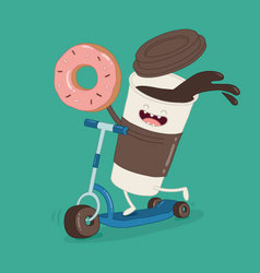 coffee donut kicks cooter vector image vector image