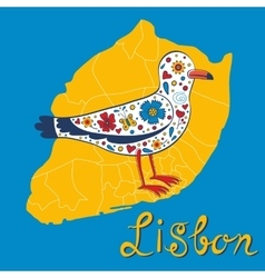 Colorful card with map of Lisbon and seagull vector image vector image